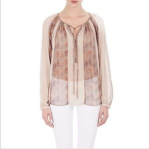 L'Agence Pearl Peasant Blouse Silk Blend Size Smal